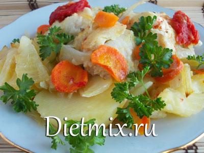 Треска запеченная в фольге с овощами